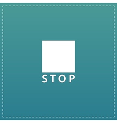Stop button icon flat design style vector