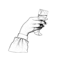 The hand holding glasses of champagne vector image vector image