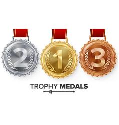 winner gold silver bronze medals set vector image