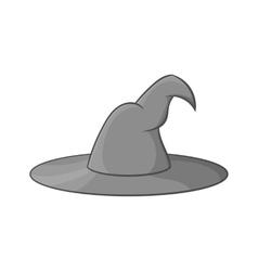 Witch hat icon black monochrome style vector