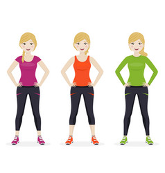 woman playing sport with different clothes vector image