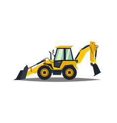 Yellow backhoe loader on a white background vector