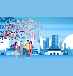 young people group over seoul city background with vector image