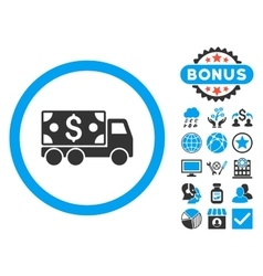 Cash delivery flat icon with bonus vector