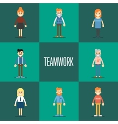 Teamwork concept with people cartoon characters vector