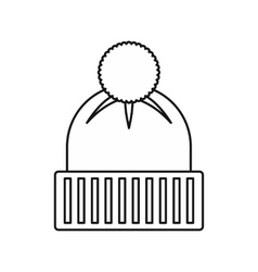 Knitted hat icon outline style vector
