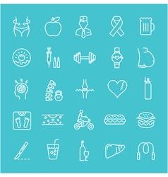 Set Flat Line Icons Obesity vector image