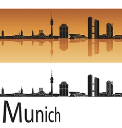 Munich skyline in orange background vector