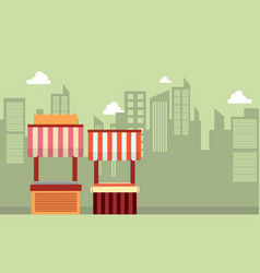 Collection of street stall landscape vector
