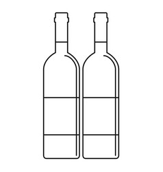 Two wine bottles icon outline style vector