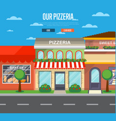 Facade of pizzeria restaurant in flat design vector