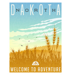 north dakota united states travel poster vector image