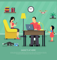 Domestic digital gadgets background vector