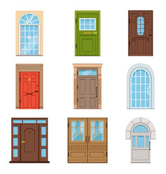 colorful front doors collection of vintage and vector image