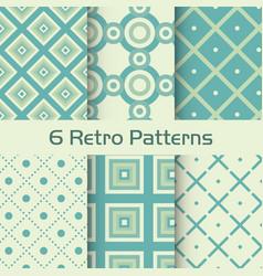 6 retro patterns set vector image