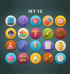 Round bright icons with long shadow set 12 vector