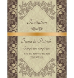 Baroque invitation brown vector