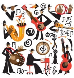 jazz musicians - cartoons vector image