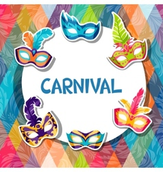 Celebration festive background with carnival masks vector