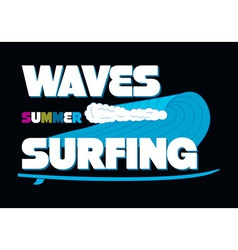 Waves summer surfing t-shirt typography graphics vector