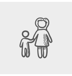 Mother and child sketch icon vector