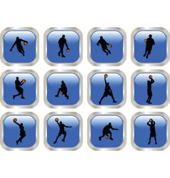 blue button with basketball player vector image