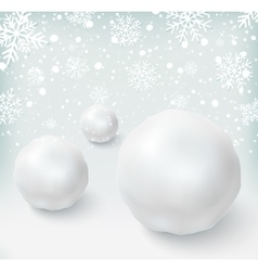 Background with snowballs and snow vector
