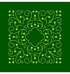 Floral square greeen frame vector image