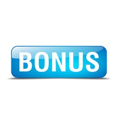 Bonus blue square 3d realistic isolated web button vector
