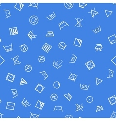 Laundry symbols on blue background seamless vector