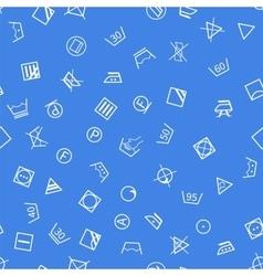 Laundry symbols on blue background seamless vector image