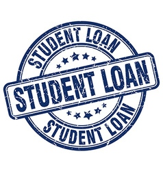 Student loan blue grunge round vintage rubber vector