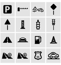 Black road icon set vector