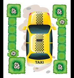 A topview of a yellow taxi vector image vector image