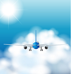 Airplane flying in the sky at daytime vector image vector image