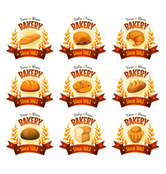 Bakery shop banners with breads and cakes vector