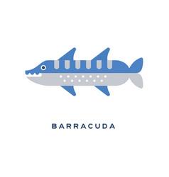 Barracuda sea carnivorous fish geometric flat vector