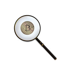 bitcoin and magnifying glass vector image vector image