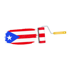 Brush stroke with puerto rico national flag vector