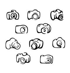 Camera icons and symbols set vector image