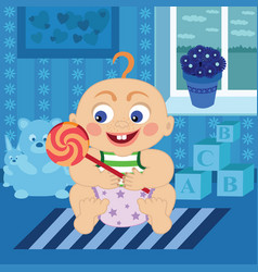 cartoon baby with sugar candy in the room vector image vector image