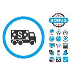 Cash delivery flat icon with bonus vector