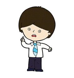 Comic cartoon worried school boy raising hand vector