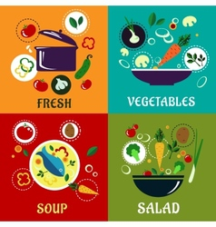 Cooking concept with vegetables and ingredients vector image vector image