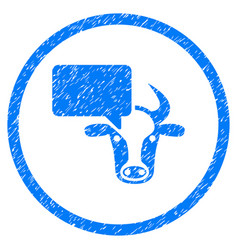 Cow opinion rounded grainy icon vector