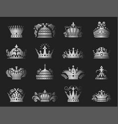 Crown king vintage premium silver badge heraldic vector