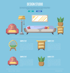 design studio poster in flat style vector image vector image
