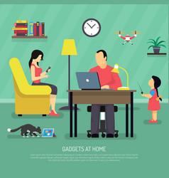 domestic digital gadgets background vector image vector image