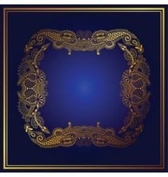 Elegant gold line art ornamental lace circle vector