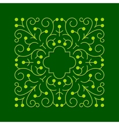 Floral square greeen frame vector image